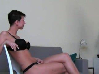 Horny Darkhair Girl Fucking On The Chair