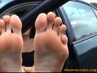 Beth Huge Feet Outside