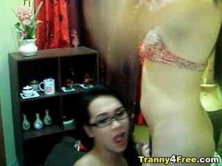 Tranny Gives Head To Her Partner
