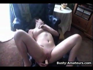 Busty Jennifer Masturbating Her Bald Pussy With Dildo