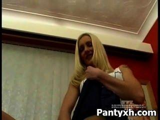 Seductive Nylon Pounding For Busty Woman