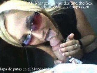 Blond Slut Blows In A Parking Area