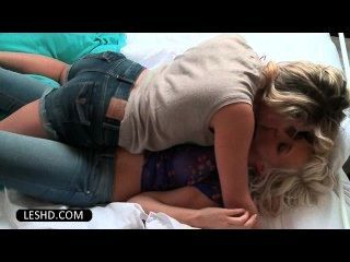 Blonde Lesbian Girlfriends Tongue Kissing And Stripping