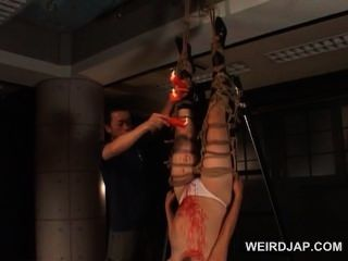 Roped Asian Pregnant Slave Gets Wax Dripped On Her