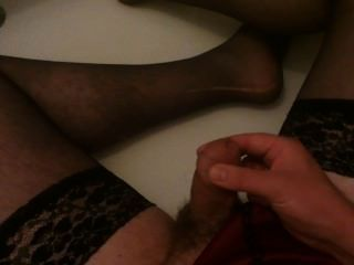 Pissing And Cumming All Over My Thong And Stockings
