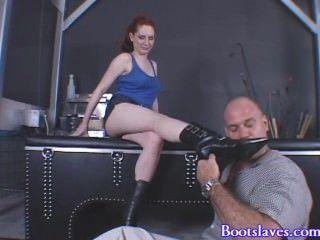 Hot Angela Ryan Has Slave Worship Her Boots