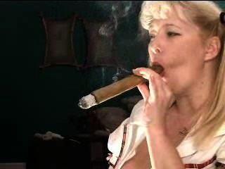 Schoolgirl With Huge Cigar