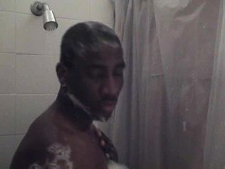 African-american In The Shower