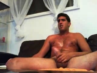 Tall Guy Jerks Off On Cam