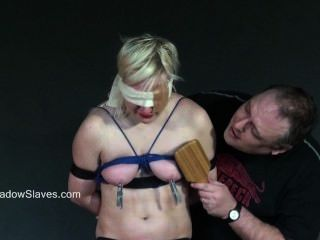 Blindfolded Blonde Babes Tit Torture And Whipping In Harsh Dungeon Bdsm