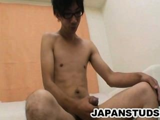 Takumi Omori - Japanese Guy Tugging His Uncut Cock