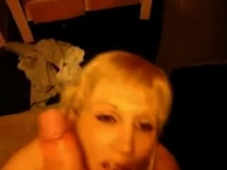 Blond Milf Sucks And Takes Facial