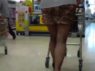 Following A Fat Ass Mature With No Panties On Mini Skirt Public Flashing