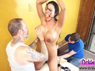 Ariella Ferrera Captured Tied And Foot Tickled By Two Guys