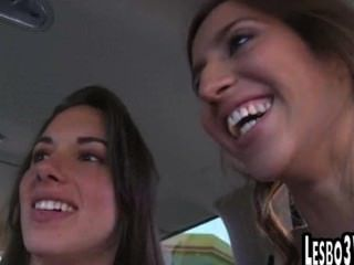 Tan Lesbians Get Eaten Out In A Van