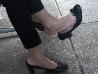 Candid Asian Dangling Shoeplay Feet