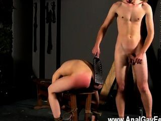 Sexy Gay Tied Down To The Bench With His Hole On Show, Cristian First