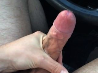 Car Cumshot- Jerking Off Uncut Dick