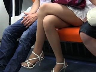 Sexy Teen Nylon Feet And Legs In Sheer Nylons On Train