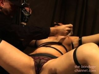 Tied Brunette Vibrator And Feathers Tickling