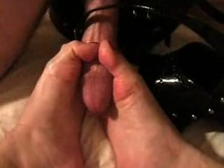 Blonde Gives Shoejob And Licks Cum From Toes And Shoes (twice)