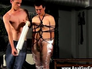 Gay Twinks Cristian Is Nearly Swinging, Wrapped Up In Rope And Shackled