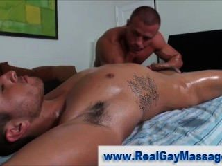 Straighty penis pumped by masseur